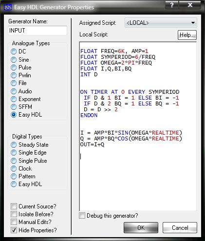 Окно Easy HDL Generator Properties и скрипт управления генератором Easy HDL