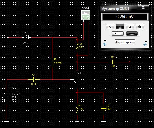 Подключение к схеме мультиметра в режиме вольтметра