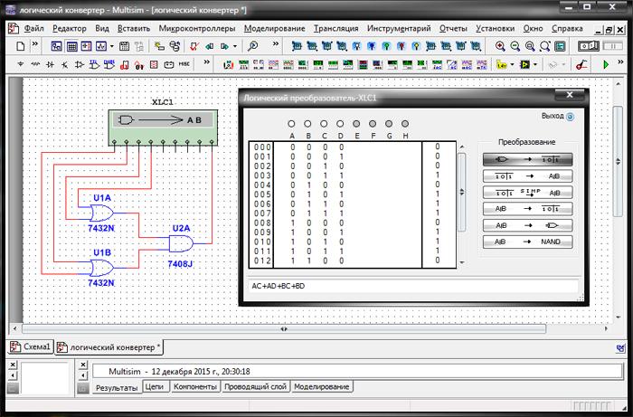 Лицевая панель логического преобразователя, его пиктограмма на схеме и пример подключения данного прибора к схеме