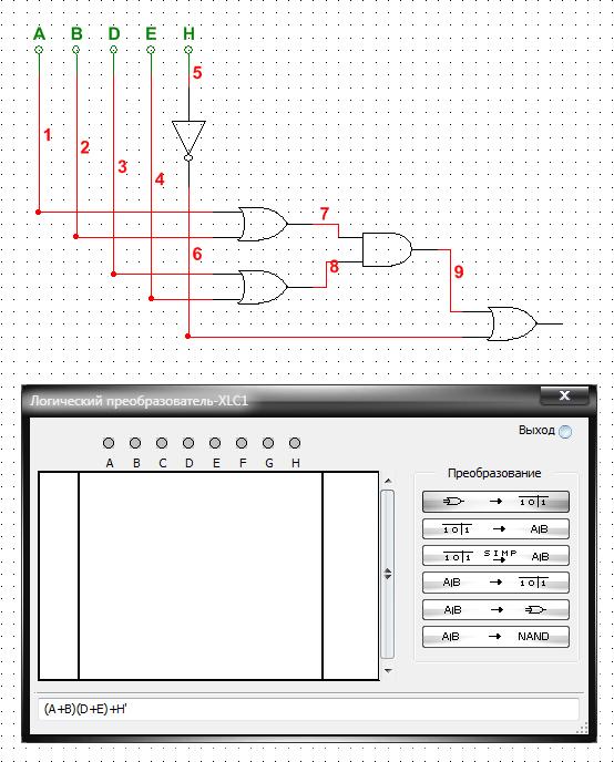 Построение схемы, реализующей заданную функцию, при помощи логического преобразователя