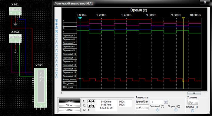 Пиктограмма логического анализатора, подключение к схеме и его лицевая панель