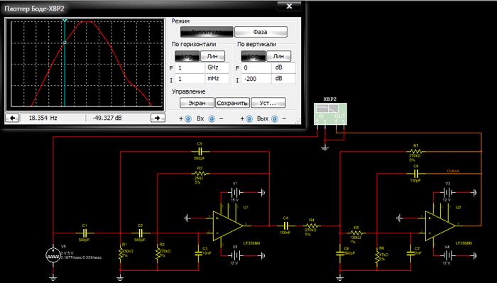 Пример подключения плоттера Боде к схеме фильтра и лицевая панель данного прибора