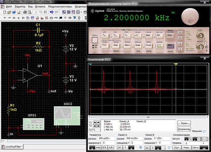 Генерация кардиосигнала с частотой 2.2 kHz и его отображение на дисплее осциллографа