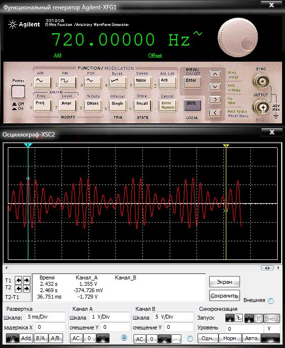Функциональный генератор Agilent в режиме амплитудной модуляции и полученный сигнал на дисплее осциллографа