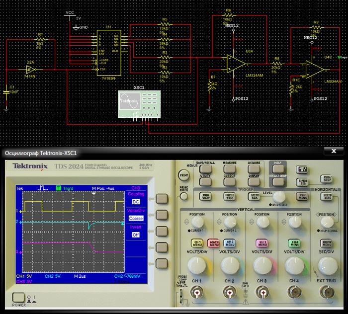 Лицевая панель виртуального осциллографа Tektronix и пример его подключения к схеме.