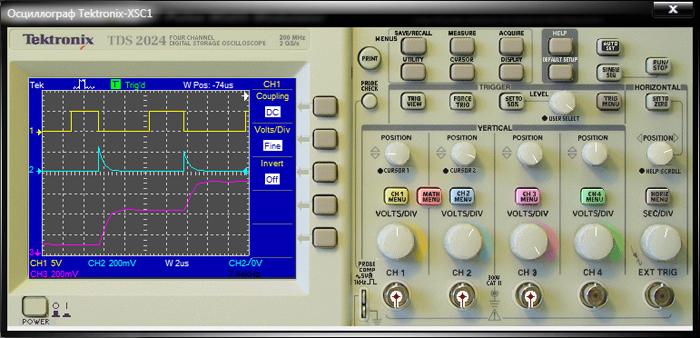 Выбор отображения осциллограмм трех каналов при помощи функциональных кнопок окна настроек VERTICAL и меню управления режимами их работы.