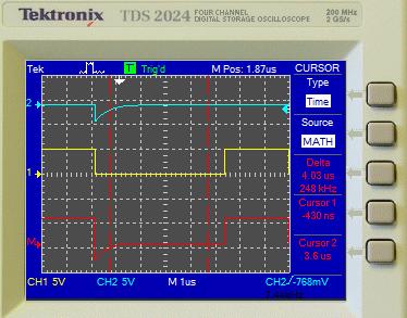 Измерение результата выполнения математической функции CH2-CH1 (красная кривая) при помощи курсоров.