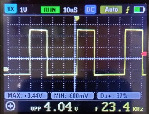 Рис. 4 Сигнал #CONTROL.Горизонт – 20 мкс/дел, вертикаль – 1 В/дел