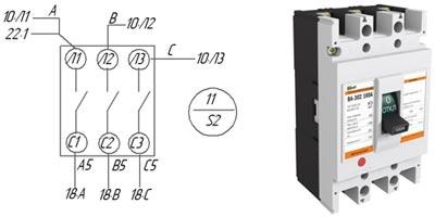 Обозначение трехполюсного автоматического выключателя