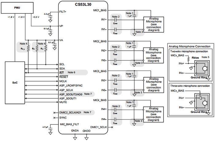 Схема подключения CS53L30