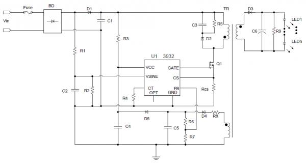 Типовая схема включения IS31LT3932