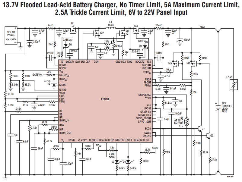 Контроллер LT8490 выполняет
