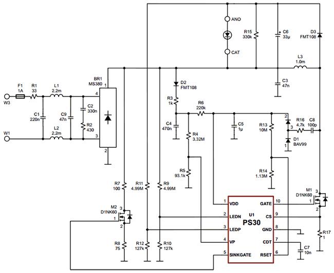 Схема подключения светодиодного драйвера PS30