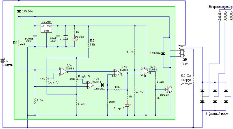 Схемы подключения мотор-колеса при использовании в ветрогенераторе.