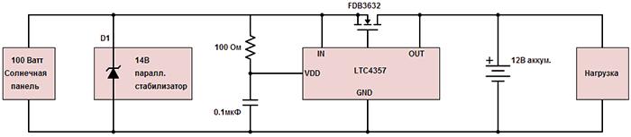 Схема контроллера заряда солнечной батареи на LTC4357