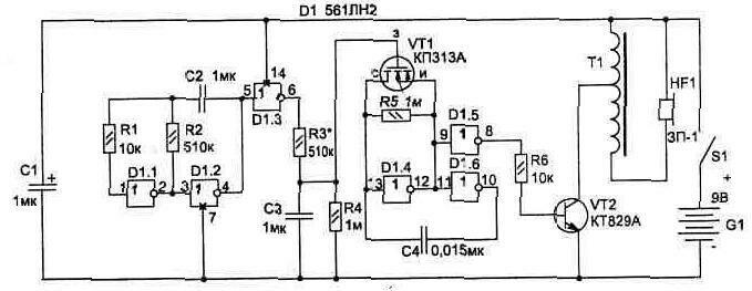 Рис. 1. Электрическая схема сирены.  Топологию печатной платы можно использовать (с небольшими изменениями)...