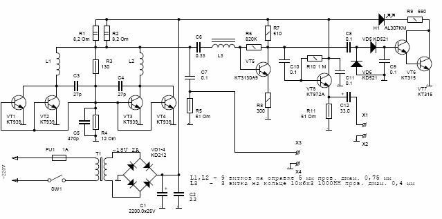 10кГц-ЗОМГц не менее...  Устройство построена по классической схеме шумового генератора радиочастотного диапазона.