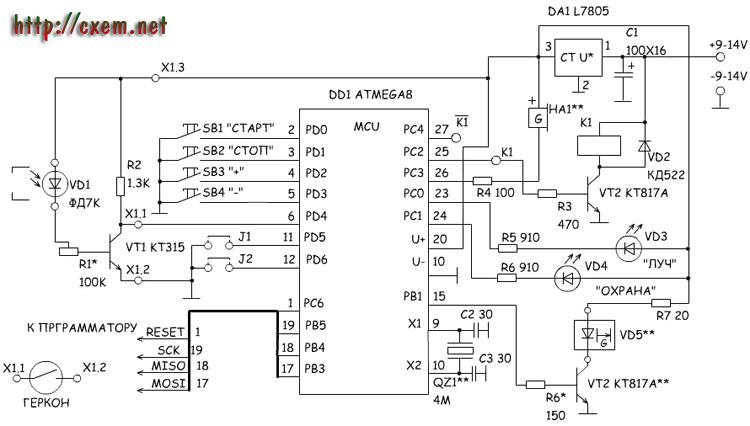 Это схема может использоваться как охранное устройство, реагирующее на разрыв луча между лазером и датчиком.