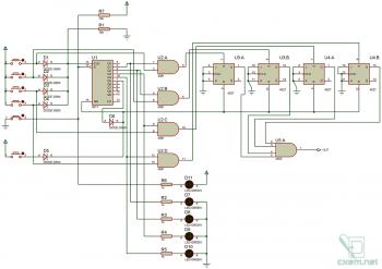 Схема 4-х разрядного кодового замка