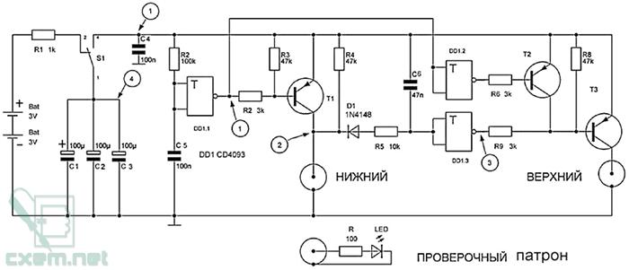 Схема контроллера пистолета стражник МР461 на CD4093
