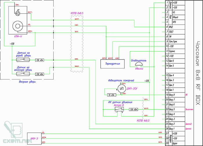 Схема подключения GSM-сигнализации Часовой