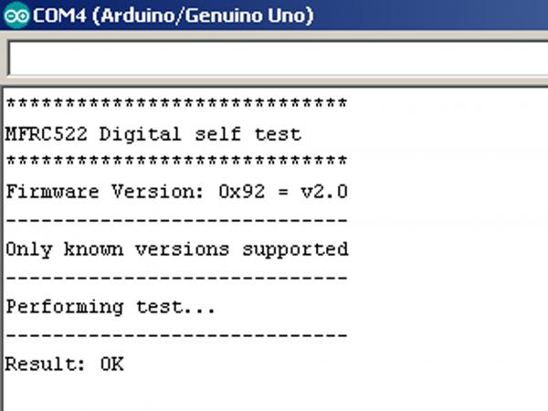 Результат работы примера firmware_check библиотеки MFRC522
