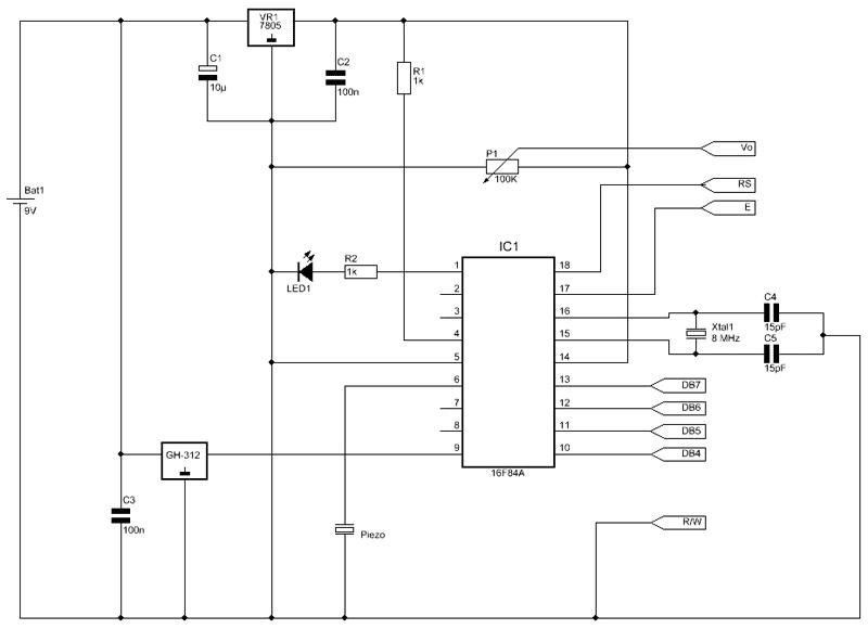 Схема детектора газа