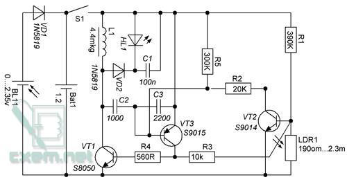 Диод VD1...  Представлена схема простого дачного фонарика.