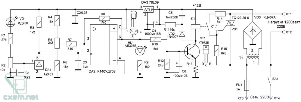 Схема мощного фотореле для