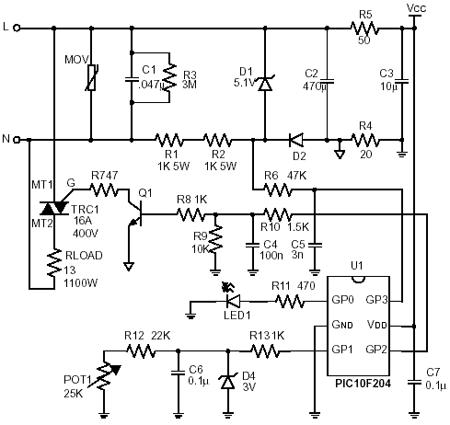 Схема электронного термостата.