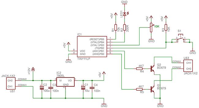 Список радиоэлементов: 1. Attiny13V - 1 шт 2. 78L05 - 1 шт 3. Принципиальная схема светодиодного диммера...