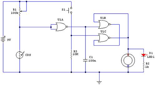 Значение R1 выбрано в соответствии с сопротивлением фотоэлемента в темноте.  В схеме используется микросхема...