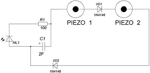 Схема пьезофонарика