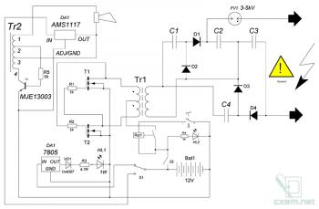 Схема мощного электрошокера