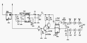 Электрическая принципиальная схема новой электронной начинки фонарика