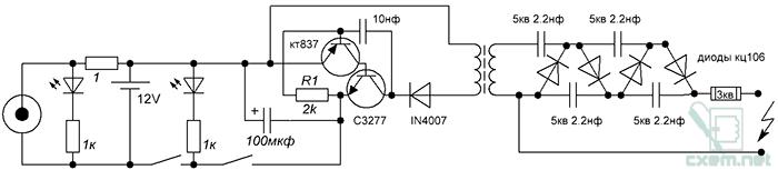 Схема электрошокера своими руками
