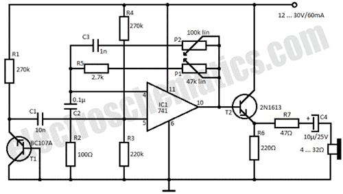 Как видно из вышеприведенной схемы, имитатор довольно прост и построен на операционном усилителе LM741...