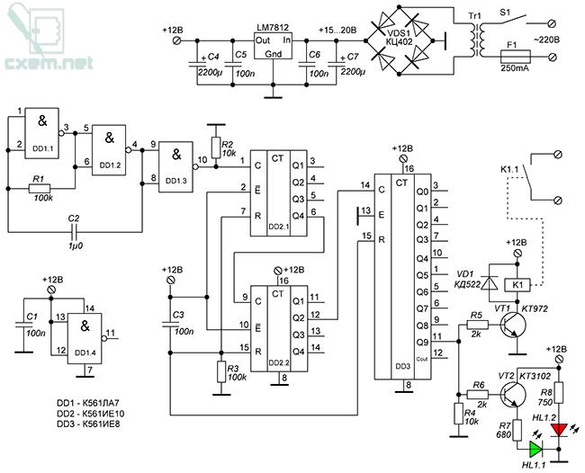 Схема автоматического блока управления электрокоптильней