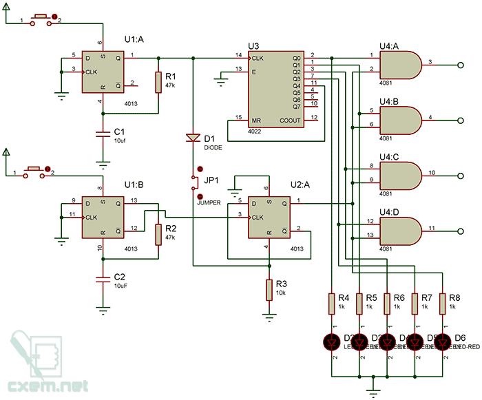 Схема сенсорного выключателя с селектором выхода