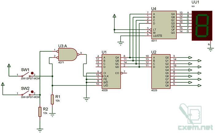 Схема устройства прямого и инверсного счета с индикацией