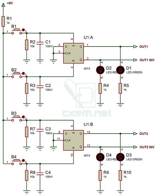 Схема устройства включения и выключения нагрузки двумя разными импульсами