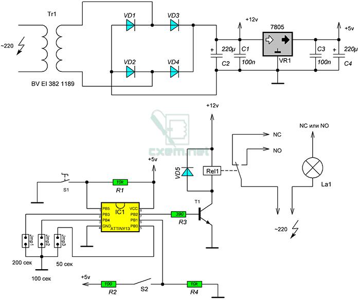 Схема автоматического выключателя света с таймером