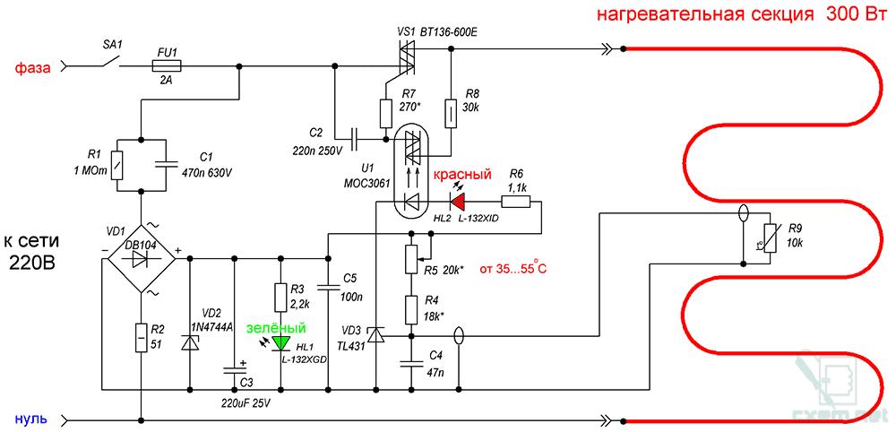 Схема терморегулятора для теплого пола схема