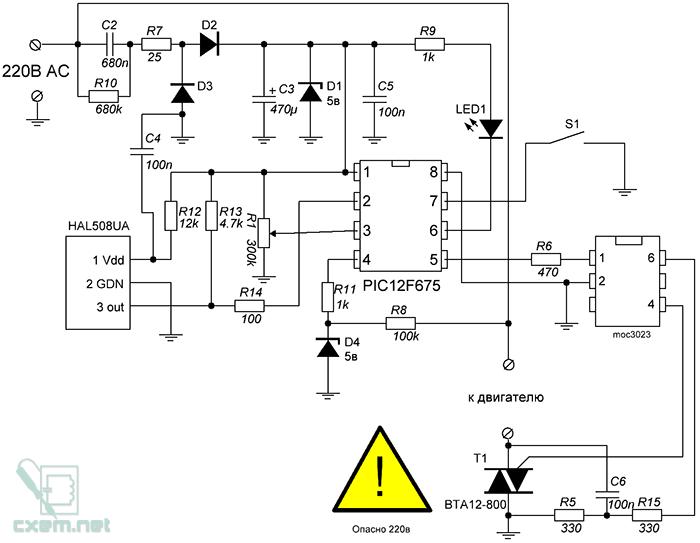 Схема регулятора оборотов для бормашинки с обратной связью на PIC