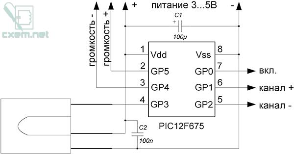 К нему был изготовлен дешифратор на микроконтроллере PIC12F675.  Режим работы - кнопка.