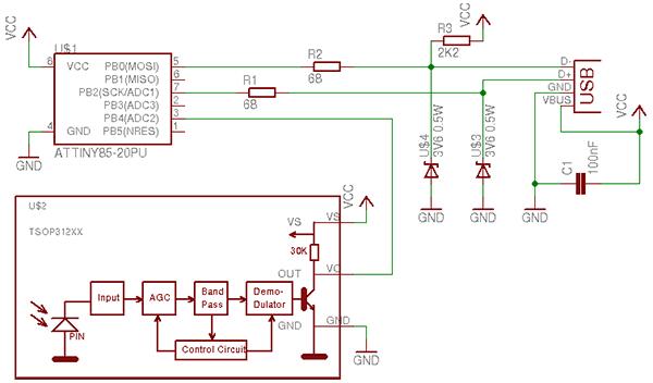 Электрическая схема для USB инфракрасного приемника