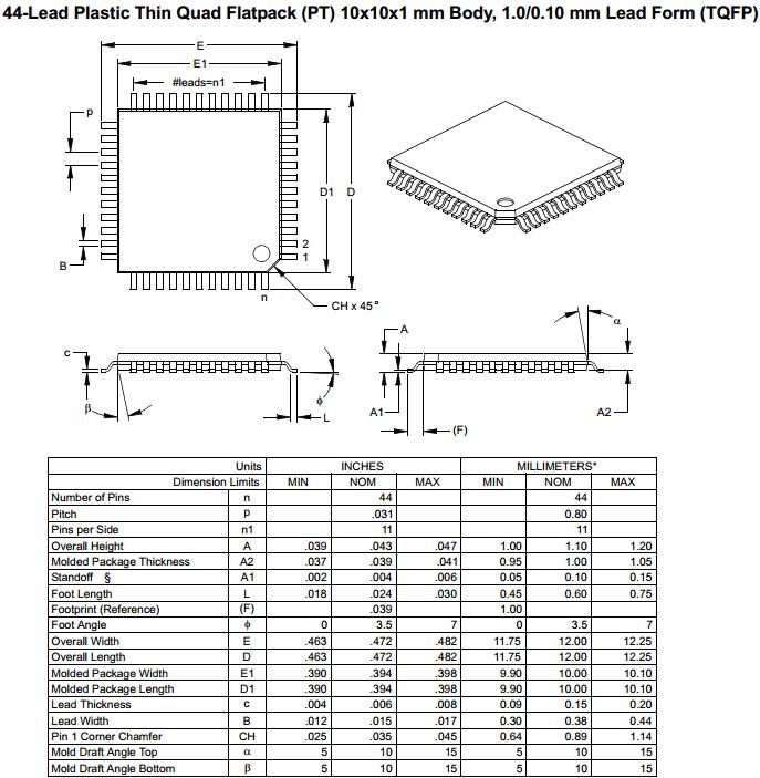 Корпус TQFP-44