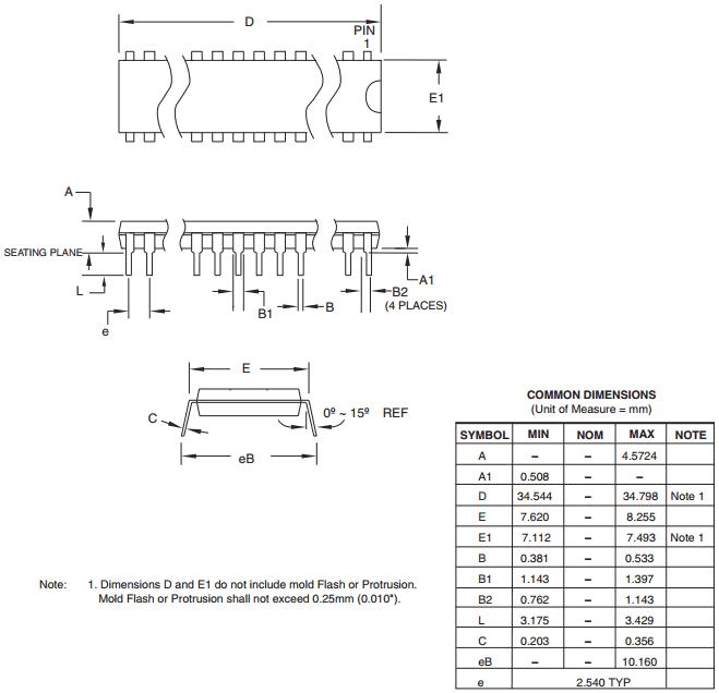 Корпус PDIP 28P3 28