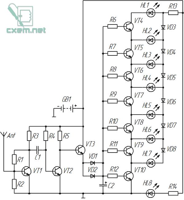 Схема индикатора ВЧ поля
