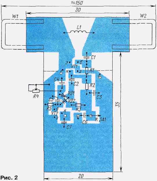 Прибор выполнен по схеме. на lm3914 на самодельный усилительАнтенный.  Схема индикатора поля нечаеваТахометрСхема.